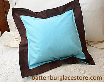 "Pillow Sham 12""x12"" Square. AQUA BLUE with Brown color border"